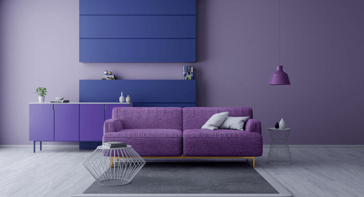 Modern and minimalist interior of living room, Ultraviolet home decor concept