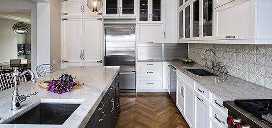 Luxury meets character in timeless kitchen design with white color cabinets in Chicago