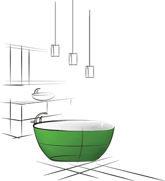 Green and white color bathroom illustration