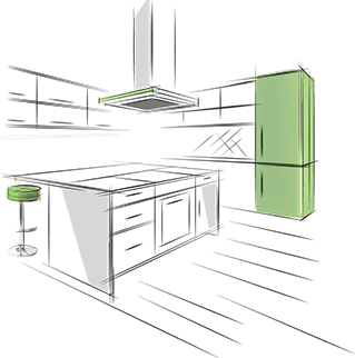 Green and white color kitchen illustration