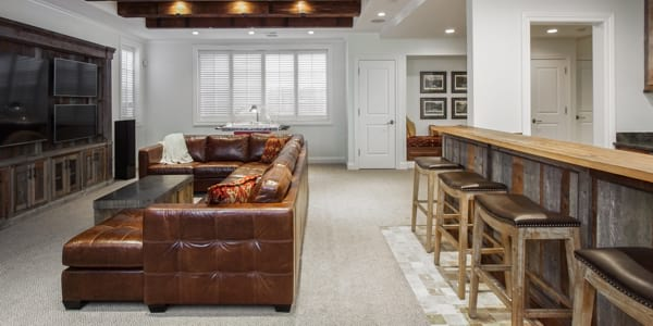 Stylish basement remodeling project in Kenilworth