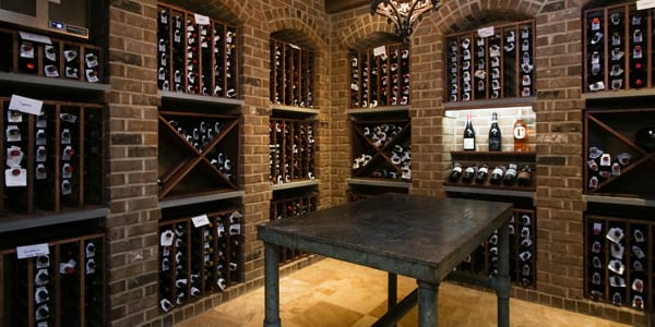 Functional wine room after custom basement remodeling in Kenilworth