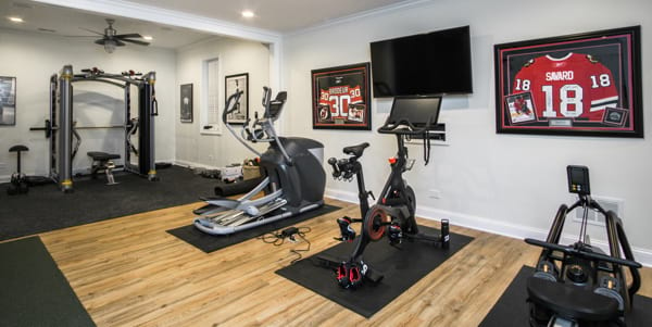 Kenilworth finished basement project with home gym area