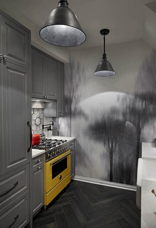 Elegant grey kitchen design with bright yellow stove and wall decor project photo  in Chicago
