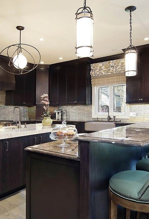 Modern brown color kitchen design with island project photo in Highland Park