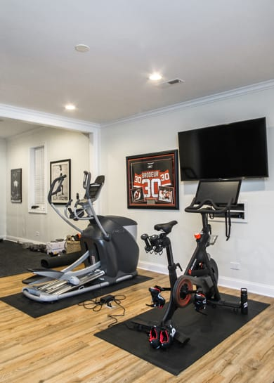 Kenilworth finished basement project with small gym area
