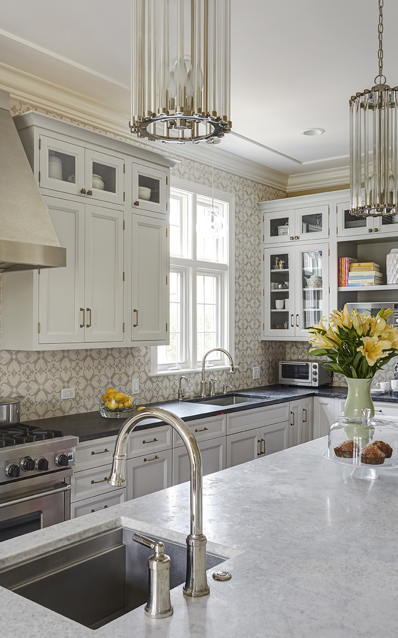 Kitchen design using traditional style with luxury white kitchen cabinet and narrow kitchen island in Winnetka
