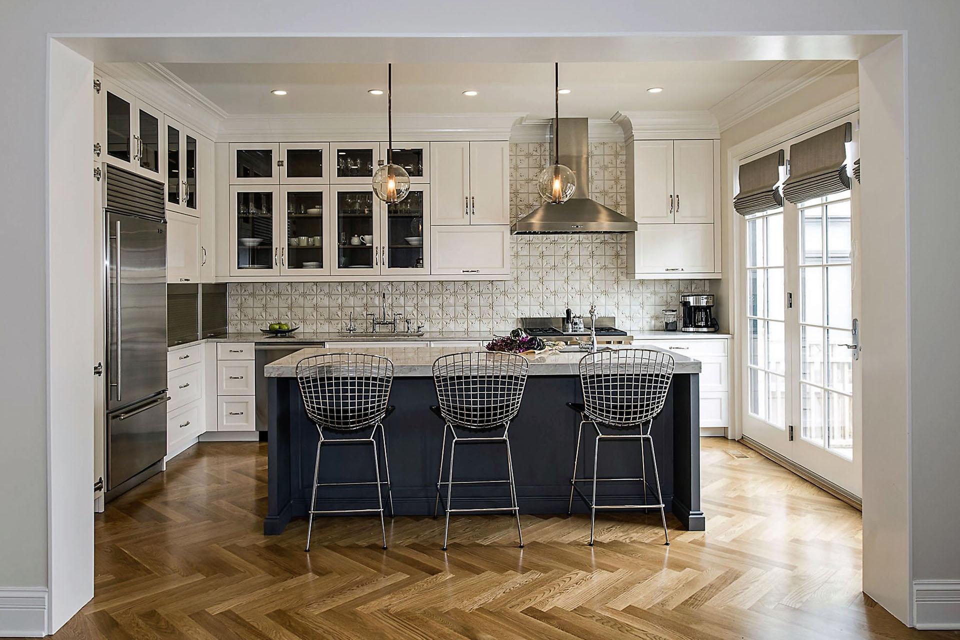 Spacious Classically White Kitchen Design With Island And Three Stylish Bar  Chairs In Chicago