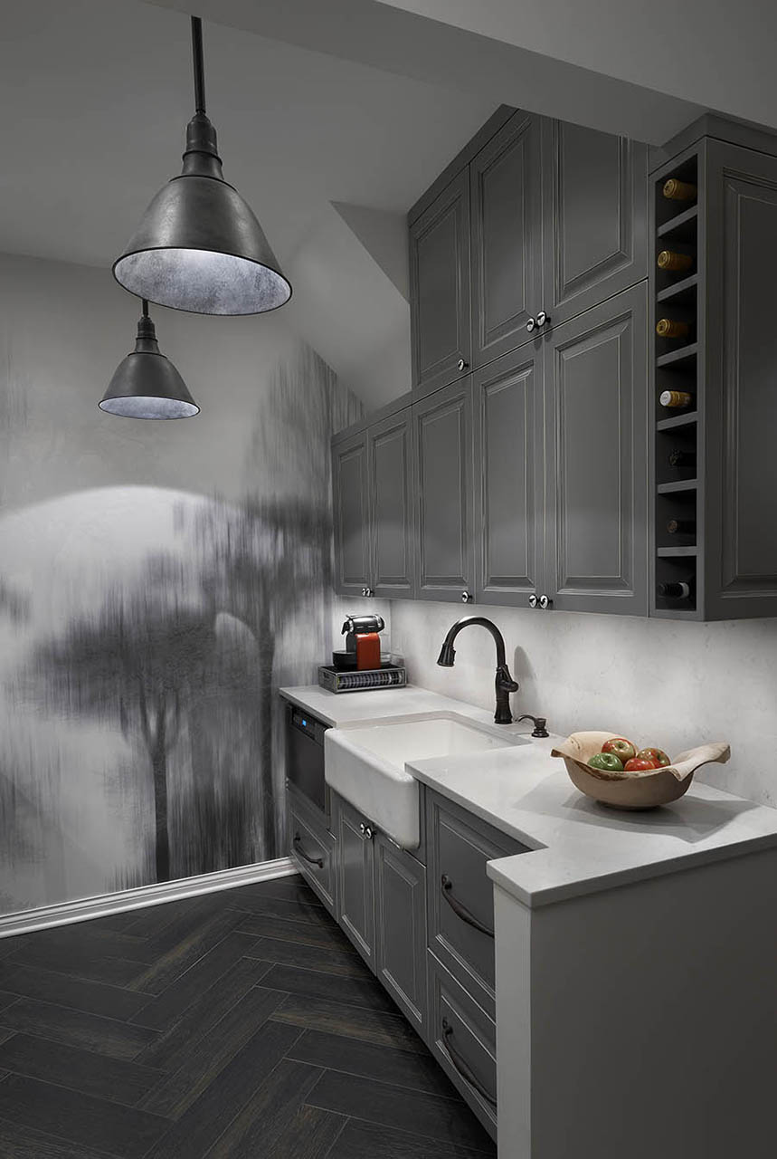 Modern grey kitchen design with unique wall decoration in Chicago