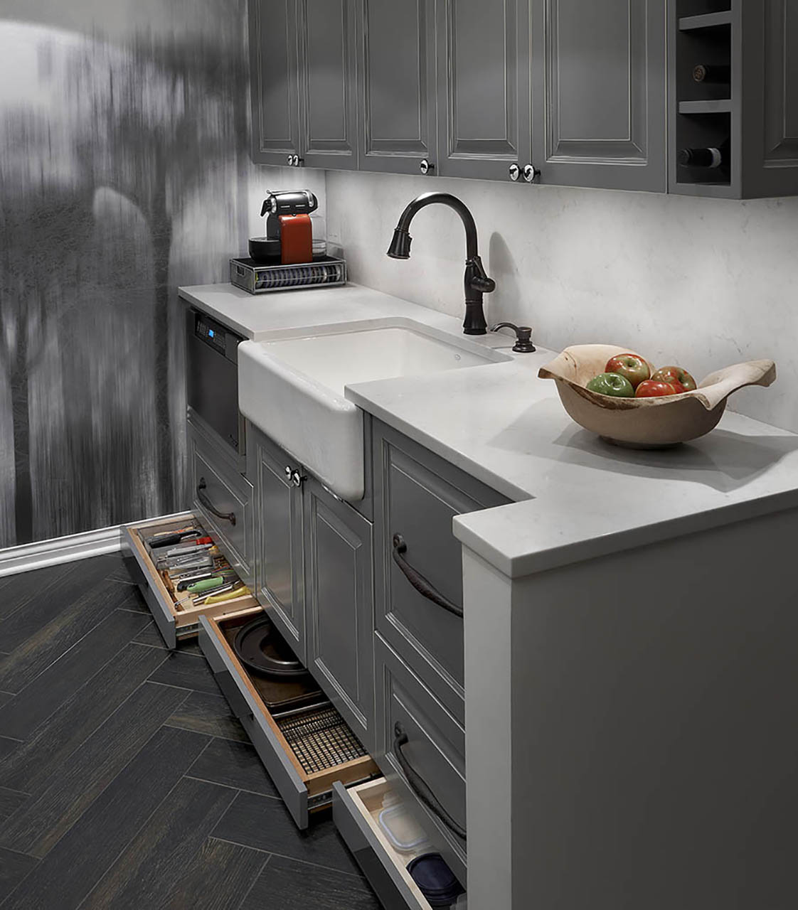 Stylish grey kitchen cabinet with modern sink design in Chicago
