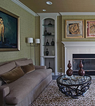 Family room addition with impressive interior design and fireplace in Highland Park