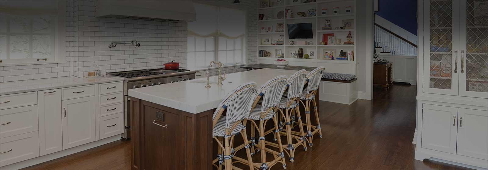 Elegant white kitchen transformation design photo in Kenilworth